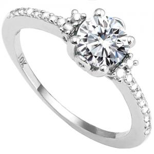 VS CLARITY ! 1.00 CT DIAMOND MOISSANITE & 1/5 CT DIAMOND SOLITAIRE 10KT SOLID GOLD ENGAGEMENT RING