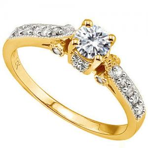 VS CLARITY ! 2/5 CT DIAMOND MOISSANITE & 1/4 CT DIAMOND SOLITAIRE 14KT SOLID GOLD ENGAGEMENT RING