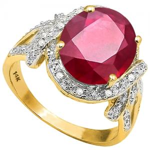 5.10 CT AFRICAN RUBY & DIAMOND 14KT SOLID GOLD RING