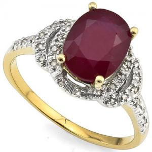 2.39 CT RUSSIAN RUBY & 1/5 CT DIAMOND 14KT SOLID GOLD RING