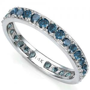 1.00 CT BLUE DIAMOND 14KT SOLID GOLD ETERNITY RING