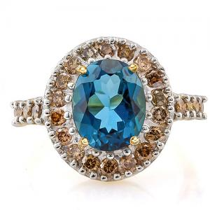 3.00 CT LONDON BLUE TOPAZ & CHOCOLATE DIAMOND 14KT SOLID GOLD RING