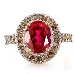 2.80 CT RUSSIAN RUBY (VS) & 4/5 CT SPARKLING CHOCOLATE 14KT SOLID GOLD RING