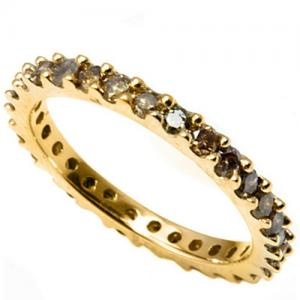 1.00 CT CHOCOLATE DIAMOND 14KT SOLID GOLD ETERNITY RING
