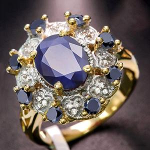 3.60 CT SAPPHIRE & DIAMOND 10KT SOLID GOLD RING