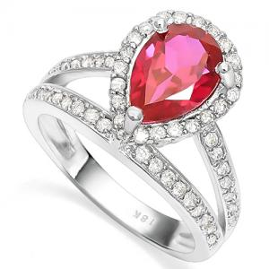 VS QUALITY ! 2.00 CT RUSSIAN RUBY & 3/5 CT DIAMOND 18KT SOLID GOLD RING