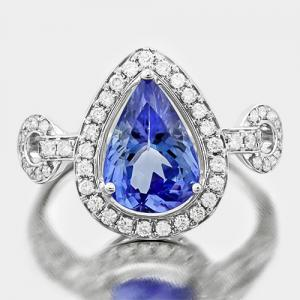 VS QUALITY ! 2.15 CT TANZANITE & 2/5 CT DIAMOND 18KT SOLID GOLD RING