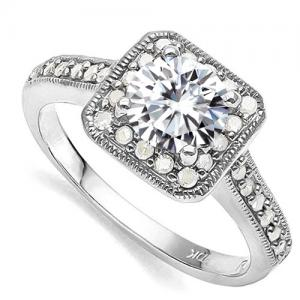 VS CLARITY ! 3/4 CT DIAMOND MOISSANITE & 1/3 CT DIAMOND SOLITAIRE 10KT SOLID GOLD ENGAGEMENT RING