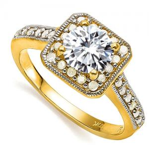 VS CLARITY ! 4/5 CT DIAMOND MOISSANITE & 1/4 CT DIAMOND SOLITAIRE 10KT SOLID GOLD ENGAGEMENT RING