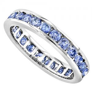 1.50 CT TANZANITE 14KT SOLID GOLD ETERNITY RING