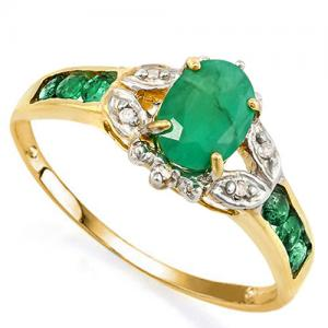 1.00 CT EMERALD & DIAMOND (VS CLARITY) 10KT SOLID GOLD RING