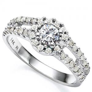 VS CLARITY ! 1/2 CT CT DIAMOND MOISSANITE & 2/5 CT DIAMOND SOLITAIRE 14KT SOLID GOLD ENGAGEMENT RING