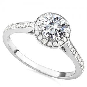 VS CLARITY HALO ENGAGEMENT ! 1/2 CT DIAMOND MOISSANITE & 1/4 CT DIAMOND 14KT SOLID GOLD ENGAGEMENT RING