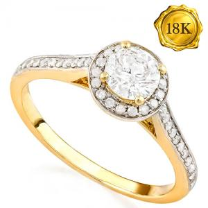HALO ENGAGEMENT ! 3/4 CARAT DIAMOND (VS CLARITY)  SOLITAIRE 18KT SOLID GOLD ENGAGEMENT RING