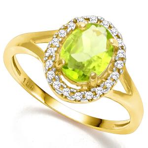 1.10 CT PERIDOT & DIAMOND 10KT SOLID GOLD RING