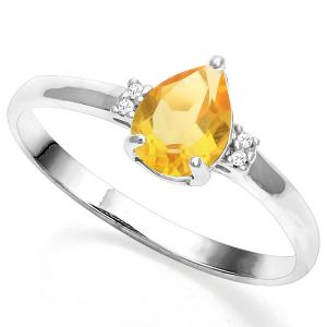 3/5 CT CITRINE & DIAMOND 10KT SOLID GOLD RING