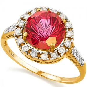 (IN STOCK NOW!!) 3.13 CT IMPERIAL RED TOPAZ & 1/5 CT DIAMOND (VS CLARITY) 14KT SOLID GOLD RING