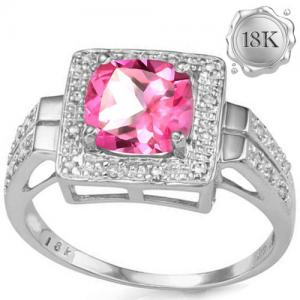 2.45 CT IMPERIAL PINK TOPAZ (VS) & 1/5 CT DIAMOND 18KT SOLID GOLD RING