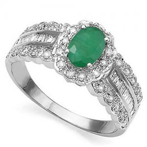 1/2 CT EMERALD & 1/2 CT DIAMOND 14KT SOLID GOLD RING