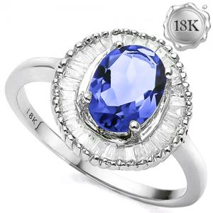 2.00 CT TANZANITE & 1/3 CT DIAMOND (VS CLARITY) 18KT SOLID GOLD RING