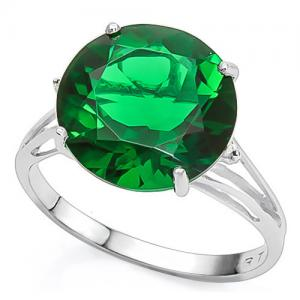 5.00 CT RUSSIAN EMERALD & DIAMOND 10KT SOLID GOLD RING