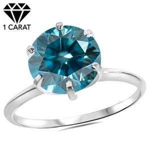 1.00 CT COLUMBIA BLUE DIAMOND SOLITAIRE 14KT SOLID GOLD ENGAGEMENT RING