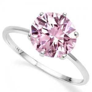 1.22 CT FANCY PINK DIAMOND MOISSANITE (VVS) SOLITAIRE 14KT SOLID GOLD ENGAGEMENT RING