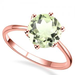 3/4 CT GREEN AMETHYST 14KT SOLID GOLD RING