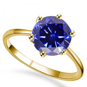 1.00 CT LAB TANZANITE 14KT SOLID GOLD RING