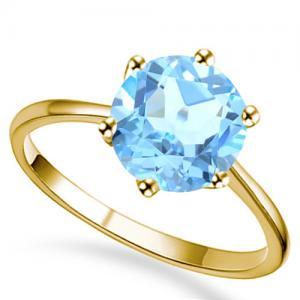 1.00 CT BABY SWISS BLUE TOPAZ 14KT SOLID GOLD RING