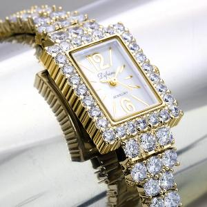PRECIOUS ! LUXURY SPARKLING SYNTHETIC DIAMOND-ENCRUSTED 18K GOLD PLATED LADIES JEWELRY BRACELET WATCH LADIES WATCHES